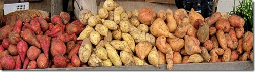 Sweet potatoes in the market