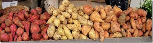 Sweet potatoes in the market