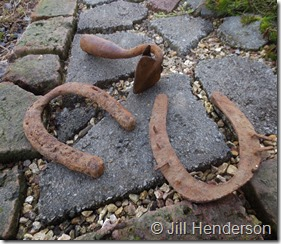 2016 1-27 Fragments - Cast iron garden furrow tool and well-worn horseshoes. (2)